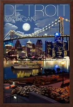 Detroit, Michigan - Skyline at Night Prints by Lantern