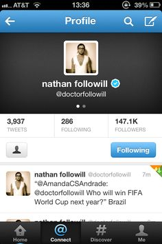 I fangirl too much. Nathan Followill replied....and he's team Brazil! So great :)