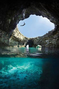 Open Sea Cave, Malta © Oliver Gatt  Grab your @Seabagsea and jump in! #swim #seabag #travel