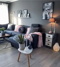 Pin by holli swift on own space living room grey, home décor, room decor. Living Room Grey, Home Living Room, Apartment Living, Living Room Designs, Living Room Decor, Cozy Living, Small Living, Cozy Apartment, Studio Apartment