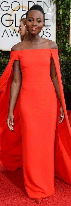 Lupita Nyong'o in Ralph Lauren Golden Globe 2014, lensed by  Jordan Strauss/Invision/AP, #PurelyInspiration