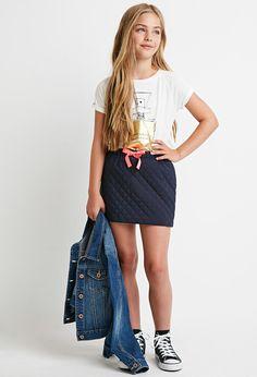 Girls Quilted Bow-Waist Skirt (Kids)   Forever 21 - 2000161702