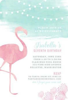 Watercolor Pink Flamingo Birthday Party Invitation