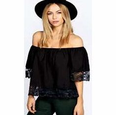 boohoo Off The Shoulder Lace Trim Woven Top - black Bring a bit of bohemian styling to your wardrobe with this bardot top . We love wearing it with black skinny jeans , chunky ankle boots and a floaty fedora hat . http://www.comparestoreprices.co.uk/womens-clothes/boohoo-off-the-shoulder-lace-trim-woven-top--black.asp