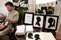 "Love this idea -  Scissor artist Karl Johnson of ""Cut Arts"" can create charming silhouette keepsakes for your guests in under 3 minutes"