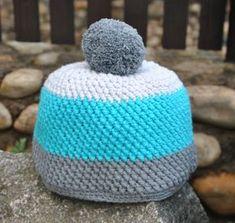 Zimní Čepice z Křížených Sloupků Chrochet, Knit Crochet, Crochet Hats, Baby Knitting, Free Pattern, Diy And Crafts, Crochet Patterns, Beanie, Sewing