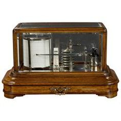 Edwardian Oak Cased and Chromed Display Barograph, circa 1890