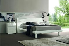 Contemporary Wood Platform Bed furniture in White - $2031.5 -- Features: Contemporary style and design #furniture #bedroom #LAfurniture #LAfurnitureStore #Furnituredesign #HomeDecor #bed #bedroom #bedroomdesign #platformbedroom #platformbed