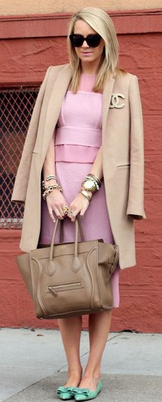 Atlantic pacific fall street fashion camel coat and Chanel pin with all baby pink fashion