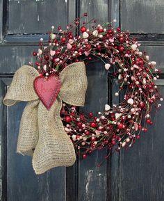Valentine Wreath - Pink Heart & Red Berry Wreath - Rustic Door Wreath - Pip Berry Wreaths - Valentine Wreaths - Valentine's Day - Burlap