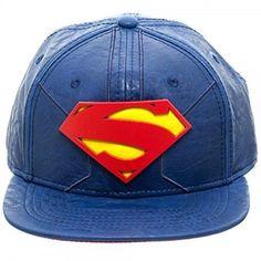 DC Comics Superman Blue Suit Up Faux PU Leather Snapback Cap Hat Justice League #DCComics