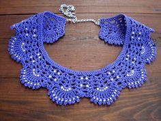 GRATIS LEVERING! Violet lace choker kraag, gehaakte choker met kristal, Hand gemaakt kantwerk choker, kraag ketting