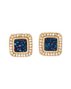 Marcia Moran 18K Plated Druzy Agate Earrings