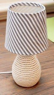 Nautical yet chic...love this diy rope lamp!! #diy #lamp #home #decorations