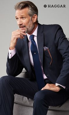 Dress like a boss. Haggar suit separates say you mean business while a pink dress shirt and cool blue tie lend a modern, creative vibe. Don't forget the pocket square for a nod to tradition. Get new spring style for men at Kohl's.