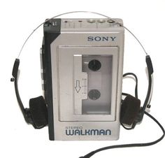 The SONY Walkman cassette tape player with headphones.