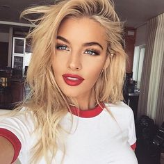 Pinterest: Paige.Lulu Blonde hair red lipstick via Instagram account jealouslut