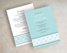 Modern wedding invitations, contemporary square pattern in light aqua or tiffany blue, slate gray and white