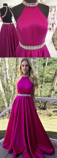 Backless A-Line O-Neck Prom Dresses 3fb584e114eb