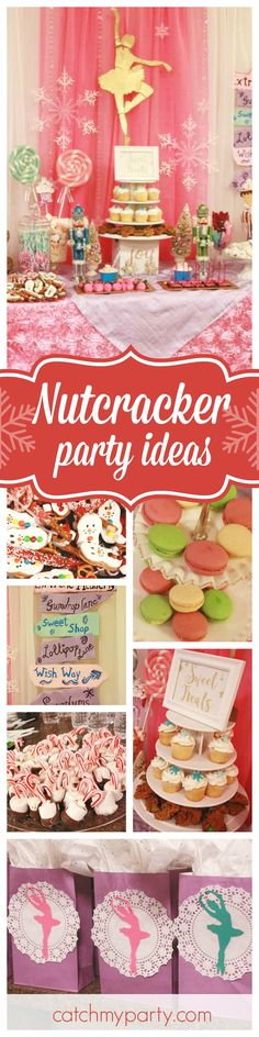 Get ready for a pretty Nutcracker birthday party. Perfect for a winter ballerinas birthday party!  See more party ideas and share yours at CatchMyParty.com