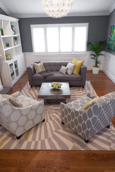 : Stylish Contemporary Living Room Design Interior Used Minimalist Sofa Furniture Completed With Large Throw Pillows Design Living Room Grey, Home And Living, Living Room Decor, Modern Living, Living Rooms, Grey Room, Living Room Ideas Grey And Yellow, Family Rooms, Decorating Small Living Room