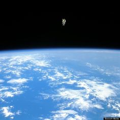 Astronaut Bruce McCandless floats free above the Earth in his manned manoeuvring unit during the 10th space shuttle flight on 7th February 1984. McCandless was the first 'human satellite' in orbit around the Earth