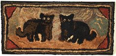 """Charming Hooked Rug With Two Cats  Pennsylvania, Ca. 1900   Wool and cotton    40"""" wide x 19"""" high."""