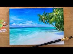 """From Joni Young Art: """"How to paint this tropical landscape. You'll learn how to paint a sky, horizon, turquoise water and beach with lots of palmtrees. Canvas Painting Tutorials, Acrylic Painting For Beginners, Beginner Painting, Step By Step Painting, Painting Lessons, Beach Canvas Paintings, Diy Canvas Art, Tree Paintings, Indian Paintings"""