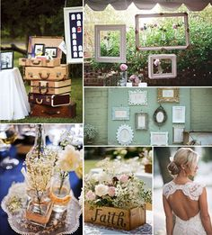 Wedding Decor : Photo Display At Wedding Reception Retro Frames And Suitcases Vintage Wedding Ideas Wedding Photo Display Ideas Wall Fun Wedding Picture Ideas for Vintage Decor Funny Wedding Poses. Old Wedding Photos Unique Wedding Picture Ideas. Vintage Wedding Theme, Wedding Themes, Chic Wedding, Spring Wedding, Wedding Designs, Perfect Wedding, Rustic Wedding, Our Wedding, Dream Wedding