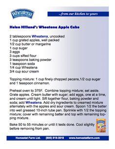Helen Hilland's Wheatena Apple Cake