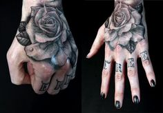 A black ink rose tattoo on the hand by Shawn Barber « « Ratta Tattoo -