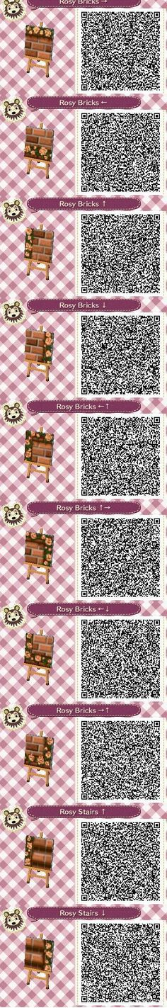 Rosy Bricks Part 1 QR codes --by Pixel Rose Designs on Tumblr http://pixelroses.tumblr.com/