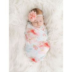Organic cotton swaddle blanket in Indy Bloom Pink and Blush Floral... ($66) ❤ liked on Polyvore featuring home, children's room, children's bedding and baby bedding