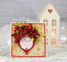 Christmas card with Pretty Flori red - Scrapbook.com and Monica-jot.blogspot.com