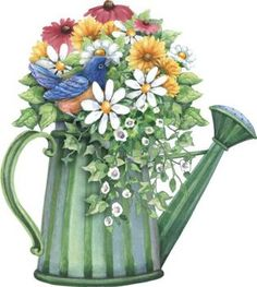 Watering Can clipart spring bouquet - pin to your gallery. Explore what was found for the watering can clipart spring bouquet Decoupage Vintage, Decoupage Paper, Watercolor Flowers, Watercolor Art, Illustration Blume, Clip Art, Country Paintings, Flower Clipart, Country Art