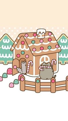 Pusheen and Stormy Gingerbread House Phone Wallpaper/Background - Tiere Tubes & Wallpapers - Cat Wallpaper Cat Wallpaper, Kawaii Wallpaper, Wallpaper Backgrounds, Iphone Wallpaper, Pusheen Christmas, Christmas Cats, Christmas Gingerbread, Christmas Holiday, Holiday Ideas
