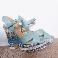 Mint Patterened Wedges Never been worn. NO TRADES Theme Shoes Heels