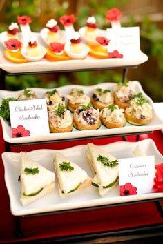 Modern bridal tea party waldorf chicken salad maybe?