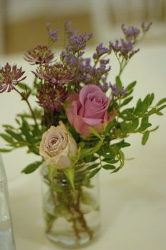 Autumn style wedding flowers jam jars and vintage roses Rustic style tea stained roses Lilac