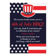 Memorial Day Party Invitation US Flag Memorial Weekend BBQ Barbecue Red Stripes Watercolor Lines Memorial Day Cookout