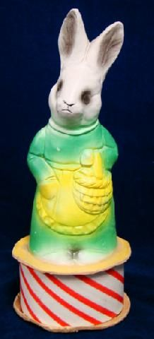 icollect247.com Online Vintage Antiques and Collectables - Easter Bunny chalkware candy container 1950s Holiday-Other