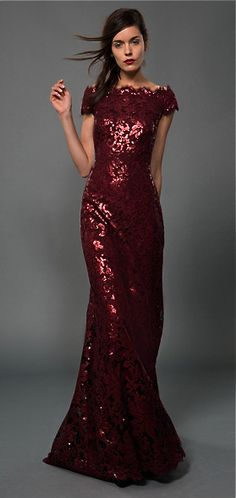 Tadashi Shoji... full of elements i don't usually like (lace, mermaid, sequins, off the shoulder) but this really works. beautiful.