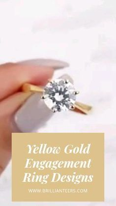 There's something special about how a diamond shines brighter sitting on yellow gold. SHOP YELLOW GOLD DIAMOND RING DESIGNS at www.Brillianteers.com. Gold Diamond Rings, Designer Engagement Rings, Ring Designs, Crystals, Yellow, Shop, Jewelry, Ideas, Jewlery