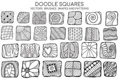 Doodle Squares by Heather Green Designs on @creativemarket