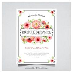 Convite floral bachelorette no estilo da aguarela
