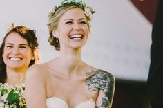 brides showing off their tattoos in their wedding dresses... this'll be me with my half sleeve. someday. :)