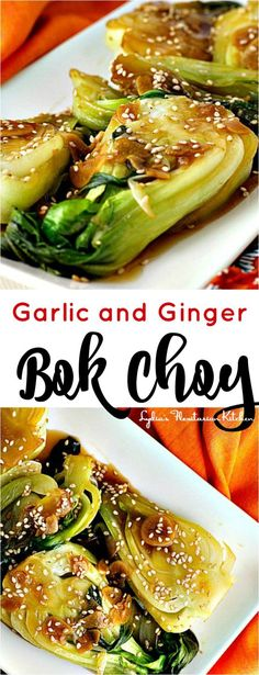 You'll love garlic and ginger bok choy. It's wonderful with rice or as a side dish for chicken. Garlic and Ginger Bok Choy - Garlic and Ginger Bok Choy ~ Year of the Red Monkey ~ Lydia's Flexitarian Kitchen Baby Bock Choy Recipes, Grilled Bok Choy Recipes, Steamed Veggies Recipe, Healthy Bok Choy Recipes, Steamed Vegetables, Vegetarian Recipes, Boy Choy Recipes, Healthy Food, Healthy Vegetable Recipes