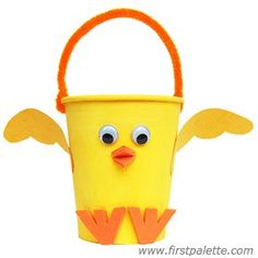 Paper Cup Chick Basket craft. Perfect for Easter!