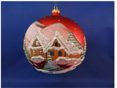 Glass red free blown hand painted winter snow scene Christmas Ornament 029008-R #GlassOrnaments