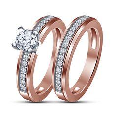 Rose Gold Over 925 Sterling Silver D/VVS1 Diamond 2pcs Lovely Bridal Ring Set #br925silverczjewelry